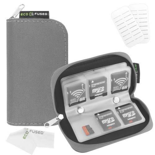 Speicherkarten- Tragetasche - Geeignet für SDHC und SD Cards - 8 Seiten und 22 Slots - ECO -kondensierten Mikrofaser Reinigungstuch Inklusive
