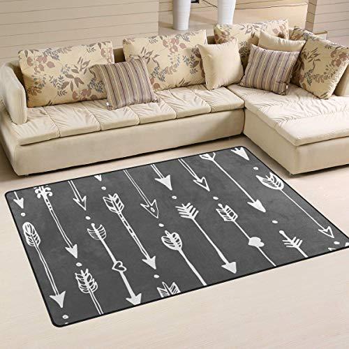 Soft Area Rug 72'X48',Ethic Doodle Arrow Pattern Floor Rug Non-Slip Doormat for Living Dining Dorm Room Bedroom Decor