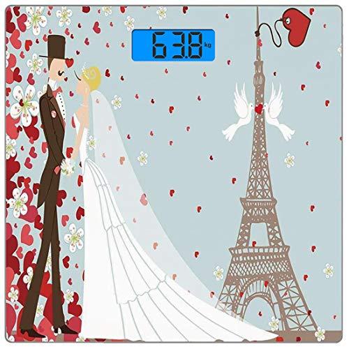 Digitale Präzisionswaage für das Körpergewicht Platz Hochzeitsdekorationen Ultra dünne ausgeglichenes Glas-Badezimmerwaage-genaue Gewichts-Maße,Französische Paar-Hand gezeichneter Paris-Eiffelturm, de