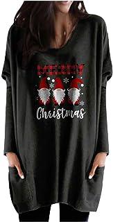 Briskorry Dames Kerstmis lange pullover lange mouwen sweatshirts, Colorblock blouse Kerstmis self-sneeuwpop eland motieven...