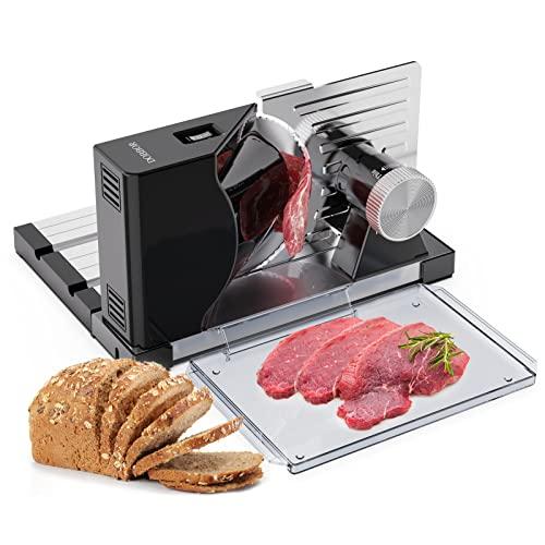 Allesschneider, DOBBOR Brotschneidemaschine Klappbar mit Abnehmbarer Gezahnter Klinge für Brot/ Käse/Fleisch, Elektrische Allesschneider für Zu Hause mit einstellbarer Dicke 0-18MM -160W