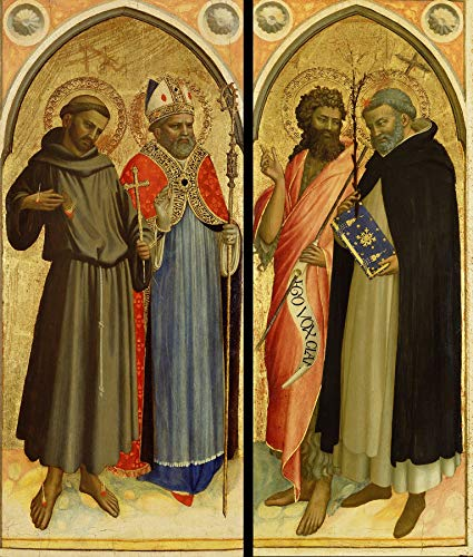 """Fra Angelico Saint Francis and a Bishop Saint, Saint John The Baptist and Saint Dominic 1426-1430 J. Paul Getty Museum Los Angeles 24"""" x 20"""" Fine Art Giclee Canvas Print (Unframed) Reproduction"""