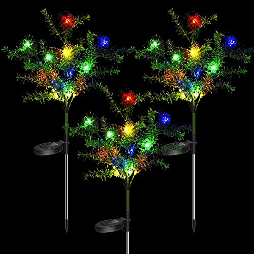 Outdoor Solar Christmas Decorative Stakes Lights, Party Holiday Garden Decor Trees with Multi Color LED Flash Lights Waterproof for Pathway Landscape Lawn Yard Patio, 3 Pack (Tree&Balls)