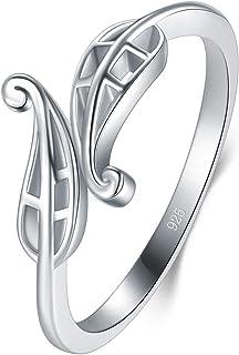 BORUO 925 纯银戒指,高抛光金银丝叶抗锈舒适婚戒尺寸 4-12