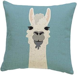 NaisiCore Viaje de Alpaca Almohada Cuadrada Funda de Almohada de Dibujos Animados de Alpaca de Almohada Cubierta de Lino Throw Cojín Inicio Sofá Decoración 45 * 45cm