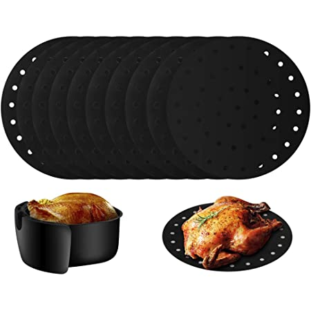 Amestar 12 Pack Reusable Air Fryer Liners Mat 9 Inch,Non-stick Basket Mat Perfect for 5.3 /& 5.8 QT Air Fryers//Steaming//Baking//Cooking//Grilling-Black,Round