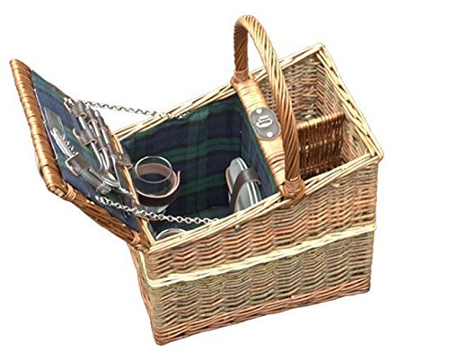 Red Hamper Wicker Willow Lambourn Three Tone Fitted Picnic Basket