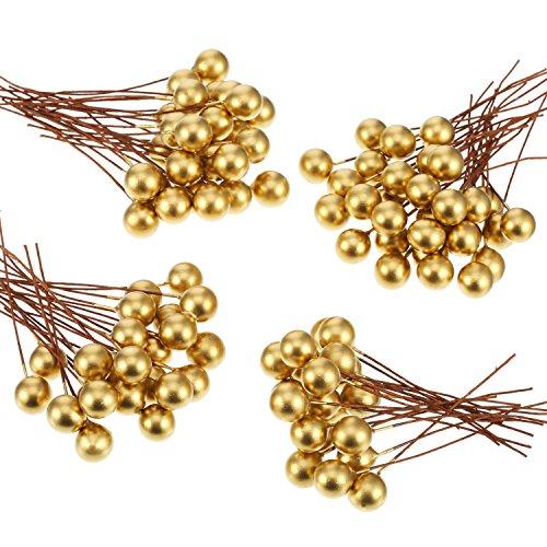 Künstliche Holly Beeren, 100 Stück Mini 10 mm Fake Beeren Dekor auf Draht für Weihnachtsbaum Dekorationen Blumen Kranz DIY Handwerk Gebrauch (Gold)