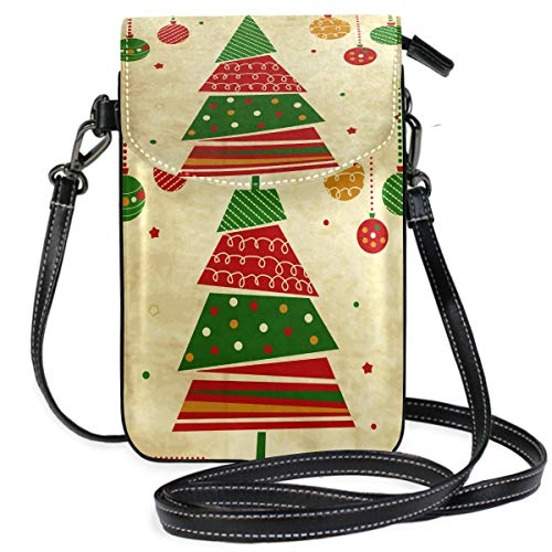 TIZORAX Vintage Christmas Tree And Ornaments Small Crossbody Bag Cell Phone Purse Wallet for Women Girls