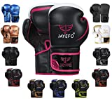 JAYEFO Glorious Boxing Gloves (Black/Pink, 16 OZ)