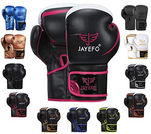 JAYEFO Glorious Boxing Gloves (Black/Pink, 12 OZ)