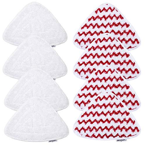 KEEPOW 8 Panni di Ricambio Scopa a Vapore Vileda Ricambi Vileda Steam, Rosso e bianco