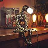 HAOQI Creative Iron Robot Table Lamp Retro LED Energy Saving Lamp Water Pipe Light E27 Interface(Not Included Bulb)