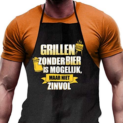 Grappig Schort voor Mannen voor de Barbecue met Opdruk Grillen zonder Bier is mogelijk - maar niet zinvol