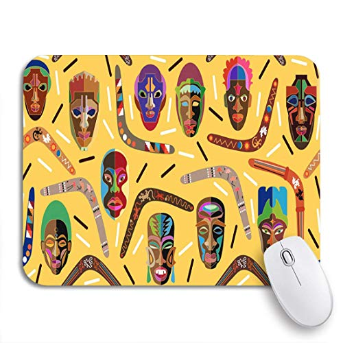 Gaming Mouse Pad Panorama-Grenze Australische Bumerangs und afrikanische Holzmasken inspiriert rutschfestes Gummi-Backing-Computer-Mauspad für Notebooks Mausmatten