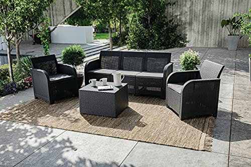 Keter Rosalie Garden Furniture Set 5 Seater Grey with Grey Cushions - 3 Seater Sofa 2 Chairs and Table