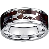 THREE KEYS JEWELRY Mens Rings Unique Tungsten Deer Forest Hunting Carbide for Man Ring 8mm Wedding Koa Wodden Band Gifts Bands Rings for Men Silver Size 6