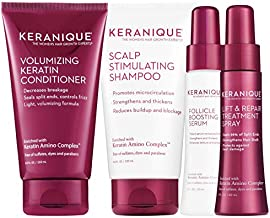 Keranique Thicker, Fuller Hair Kit – 30 Days | Shampoo, Conditioner, Follicle Boosting Serum, Lift & Repair Treatment Spray | Keratin Amino Complex Infused