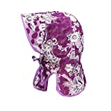 LOPILY Visera de Verano para Mujer con Estilo Nacional Sombrero Grande Plegable Gama Completa de protección Solar Sombrero de Flores de época Clásico Gorra de Sol de ala Ancha (Púrpura)