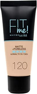 Maybelline New York - Fit Me Base de Maquillaje Mate Afina Poros Tono 120 Classic Ivory - 30 ml