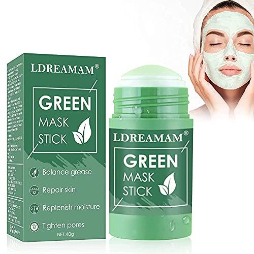 Mascarilla Sólida de Control de Aceite,Mascarilla de té Verde,Deep Cleansing Mask,Hidratar Piel, Limpieza Profunda, Ajustar el Equilibrio de Agua y Aceite