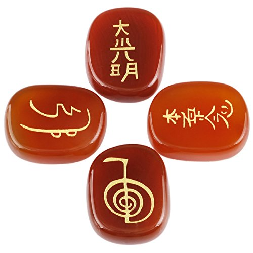 rockcloud Healing Crystal Carnelian 4pcs Engraved Chakra Stones Palm Stone Reiki Balancing