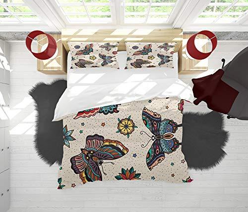 SAIAOS Copripiumino Queen, Decorativo Modello Senza Cuciture di Farfalle e Fiori Flash Tatuaggio colorato Tradizionale Stile Vintage Morbido Lusso 3 Pezzi Set di Biancheria da Letto con 2 federe