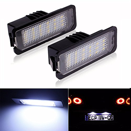 LITTOU 2X LED kentekenplaatverlichting 18 SMD LED CANBUS Error Free voor Golf 4 5 6 7, Polo