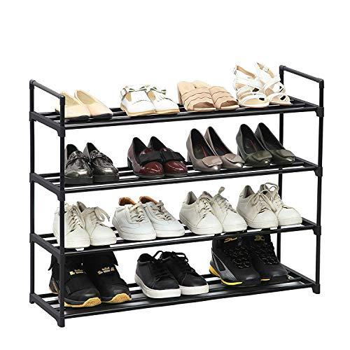 4-stufige Schuhregal-Aufbewahrungsregale Stehender Aufbewahrungsorganisator für 20 Paar Schuhe Schwarz 74 x 90 x 29 5 cm
