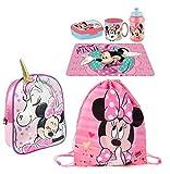Juego de mochila 3D Minnie Mouse Unicornio Disney, bolsa de deporte, para merienda, escuela, guardería, tiempo libre