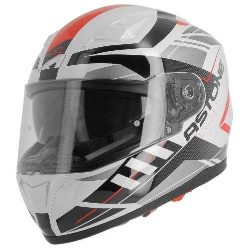 Astone Helmets - Casque de moto GT900 Street - Casque intégral large vision - Casque de moto intégral homologué - Casque de moto mixte en polycarbonate - White/red L