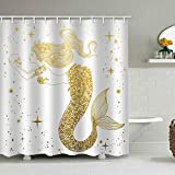 natu2eco Golden Mermaid Shower Curtains for Bathroom Fabric with 12 Hooks Gold Flash Long Hair Skull White Background Machine Washable Digital Printing Decor 72x72 inches