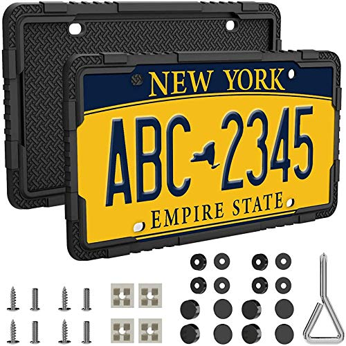 LOFTEK Silicone License Plate Frames - 2 Pcs Car License Plate Frames with Stainless Steel Screws - Black