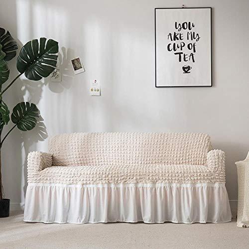 Schonbezug Popcorn Plaid Sofabezug Tight Wrap All-Inclusive elastischer Couchbezug Mit Rock Sessel Möbelbezüge, Beige, Doppelsitz Sofa