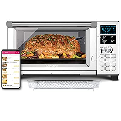 NuWave Bravo XL Convection Air Fryer Oven with Crisping and Flavor Infusion Technology (FIT) with Integrated Digital Temperature Probe for Perfect Results; Non-Stick Enamel Baking Pan; 12 Programmed Presets; 3 Fan Speeds; 5 Quartz Heating Elements; Precis