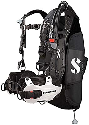 Scubapro Hydros Pro Women's Diving BCD with Air2 5th Generation Inflator Regulator (Large, White)