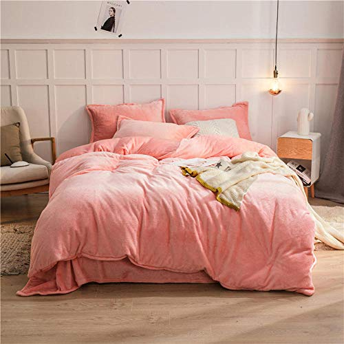 single white duvet cover-New solid color double-sided double-sided baby velvet single bed single duvet cover pillowcase washable reversible bedding-E_2.0m sheets (4 pieces)