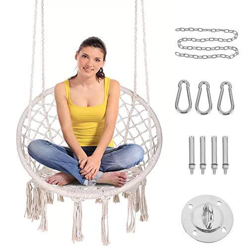 Hangstoel Bohemian Macrame Swing met hardware-kits, handgemaakte gebreide mesh touw hangstoel voor binnen/buiten, woonkamer, slaapkamer, terras, tuin, terras, tuin (laad 300 pond)