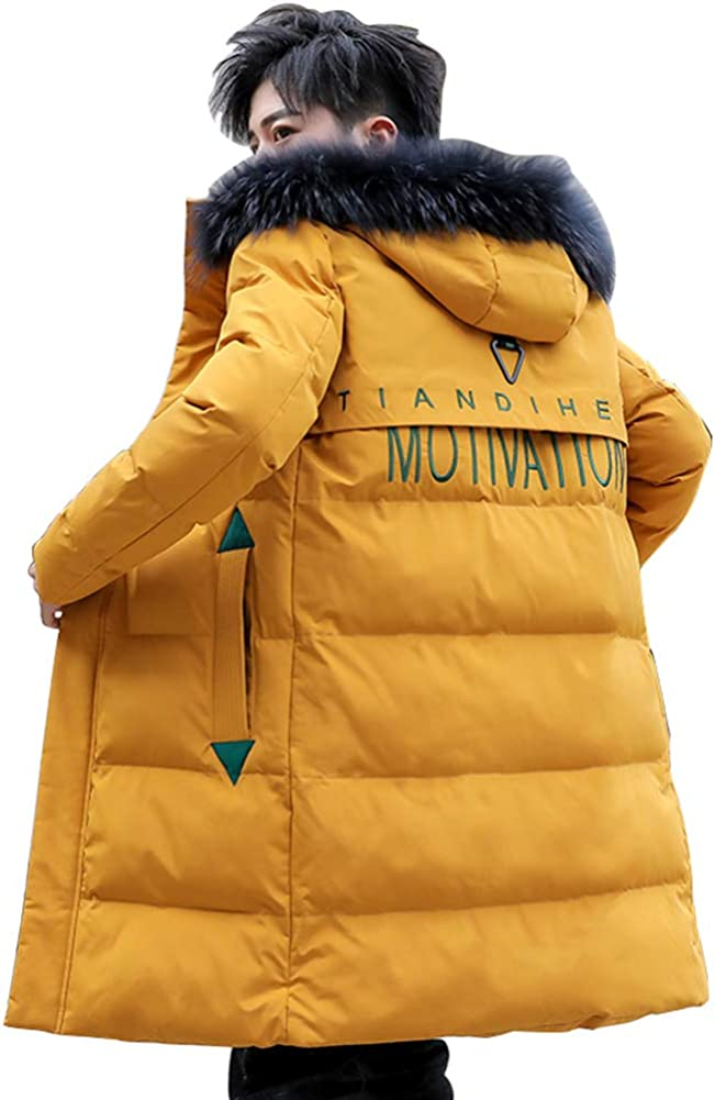 Down Jacket Men's Winter Jackets, Warm and Thick Hooded Winter Clothing, Medium Long Filler:Imitation Silk Cotton(Size: M, L, XL, 2XL, 3XL) Yellow