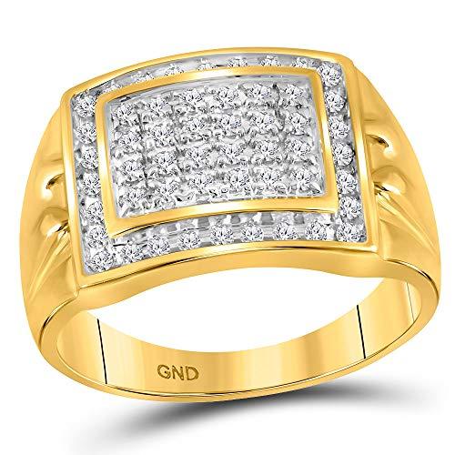 Diamond2Deal Hombre Mujer Unisex 417 Gold Oro amarillo de 10 quilates round-shape G-H Diamante blanco