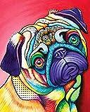 WOWDECOR Kit de pintura por números, pintura al óleo de bricolaje – Colorido perro animales lindos 40,6 x 50,8 cm (Dog E)