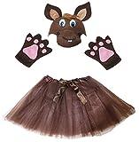 Petitebelle Pferd Hat Handschuhe Rock Girl Kinder 3pc Kostüm Zubehör Einheitsgröße Braun
