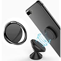 Qikafan 360 Degree Rotation Finger Ring Holder Stand with Polished Metal Phone Grip for Magnetic Car Mount