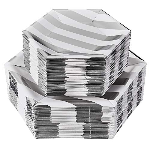PARTY DISPOSABLE 72 PC DINNERWARE SET   36 Dinner Plates   36 Side Plates   Heavy Duty Paper Plates   Hexagon Design   for Upscale Wedding and Dining (Stripe Collection – White/Silver)