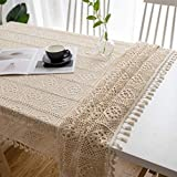 be&xn tovaglia uncinetto fatto a mano con nappa, vintage hollow rettangolo tabella copertura cotone pizzo centrino per arredamento da tavolo-beige 90x140cm(35x55inch)
