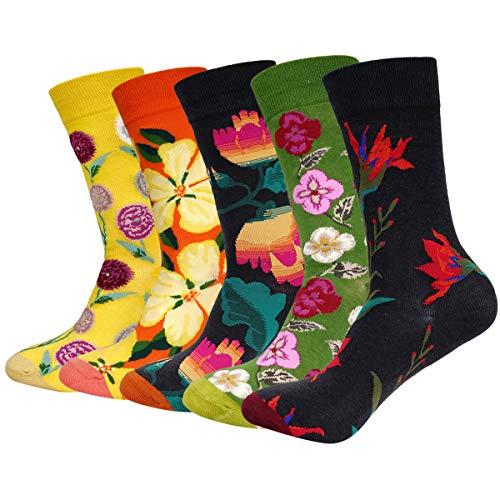 ANVEY Lustige Socken 5 Paar Bunte Gemusterte Socken Damen Herren Gekämmte Baumwolle Socken Einheitsgröße