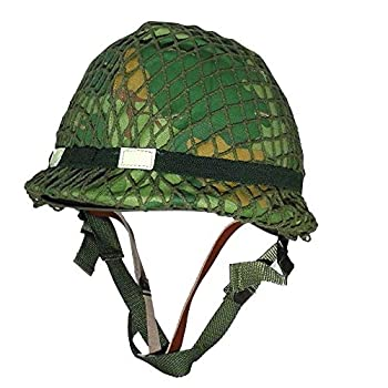 Reproduction 1959 Dated WW2 WWII Vietnam War Era US M1 Combat Helmet with Camouflage Mitchell Cover Reversible