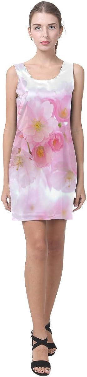 JC-Dress Sleeveless Dress Beautiful Pink Japanese Cherry Tree Blossom Sexy Party Dress