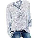 TianWlio Langarm Bluse Damen Frauen Mode Lässige Mode V-Ausschnitt Plus Size Print Langarm Knopf Taschen Shirt Top Bluse