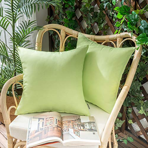 Woaboy Pack of 2 Outdoor Waterproof Throw Pillow Covers Decorative Farmhouse Lumbar Square Solid Cushion Cases for Patio Garden Porch Sofa Pale Green 18x18 inch